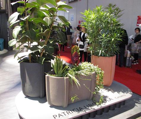 Pots imitation béton par Patricia Urquiola