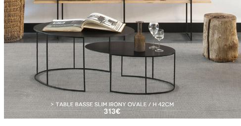 Table basse Slim Irony ovale Zeus