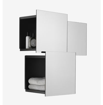 Adjustable shelf/mirror