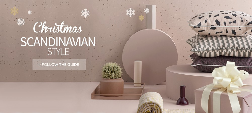 Christmas scandinavian decoration and baubles on made in design