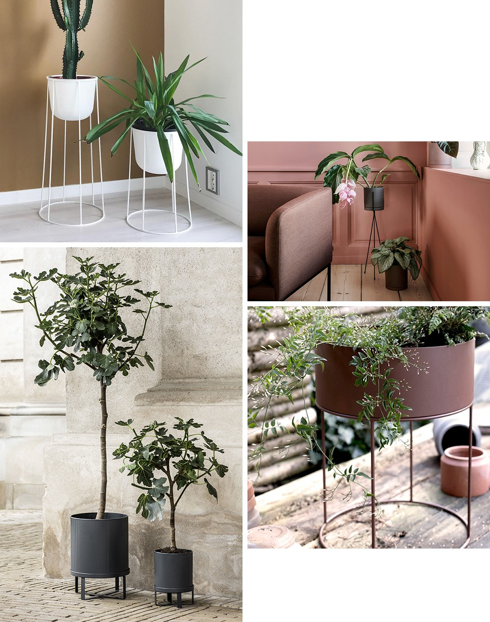 Bau Flowerpot, Plant Stand and Plant Box Round Flowerpot by Ferm Living / Wire Flowerpot by Menu