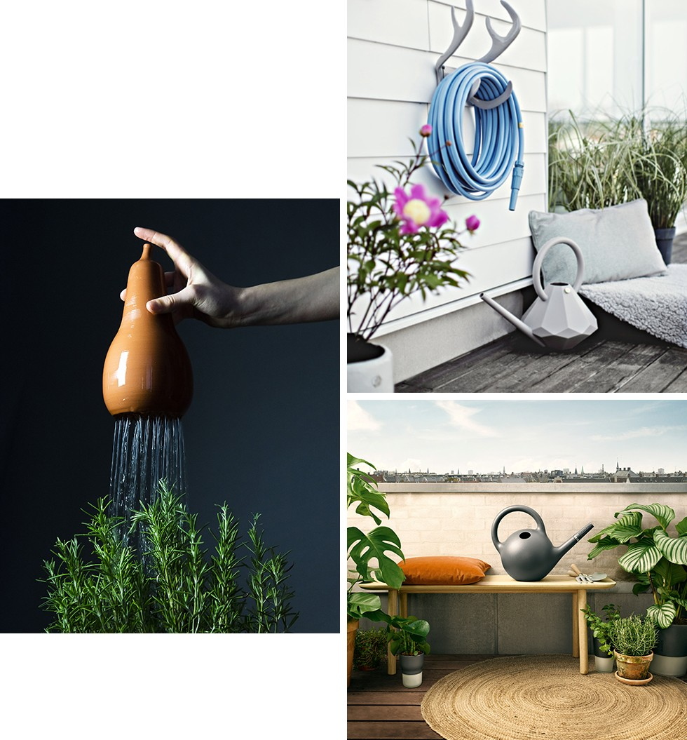 Chantepleure Watering can by Bacsac / Deluxe Renne Wall fixation and Diamond Watering can by Garden Glory / Globe Watering can by Eva Solo