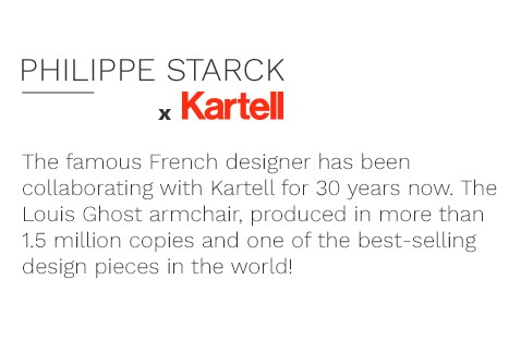 The famous French designer has been collaborating with Kartell for 30 years now. The Louis Ghost armchair, produced in more than 1.5 million copies and one of the best-selling design pieces in the world!