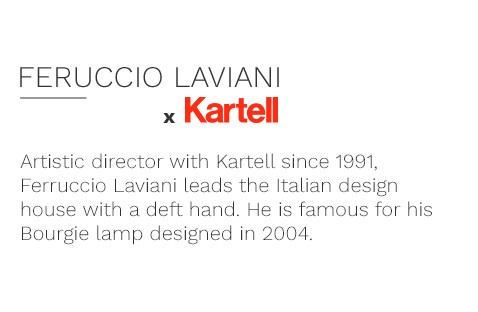 Artistic director with Kartell since 1991, Ferruccio Laviani leads the Italian design house with a deft hand. He is famous for his Bourgie lamp designed in 2004.